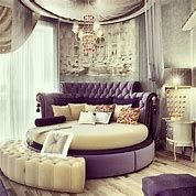 Round Beds Design Ideas to Spice Up Your Bedroom omg i just love this! The colors make it look fancy and i would like it in my room or living roomomg i just love this! The colors make it look fancy and i would like it in my room or living room Dream Rooms, Dream Bedroom, Home Bedroom, Bedroom Decor, Pretty Bedroom, Girls Bedroom, Bedroom Ideas, Fantasy Bedroom, Lilac Bedroom