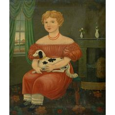 American School,  19th Century,  Girl Holding a Puppy,  Oil on canvas 31 3/8 x 25 5/8 inches