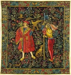 The Falconer Tapestry Medieval Tapestries This is one panel from a seven part series representing seigniorial life in the middle ages. The Medieval Falconer Tapestry is from an era of romance and myth Medieval Tapestry, Medieval Art, Renaissance Art, Medieval Life, Tapestry Weaving, Wall Tapestry, Illustrations, Illustration Art, Statues