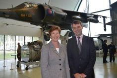 Harrier Jump Jet, October 2012. Professor Isobel Pollock, President of the Institution of Mechanical Engineers and Air Vice-Marshall Peter Dye, Director General of the RAF Museum, Hendon.