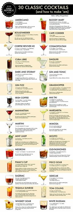 How To Make 30 Classic Cocktails: An Illustrated Guide. Today marks the start of Tales of the Cocktail, the annual summer gathering of bartenders and drinks professionals (and professional… Summer Drinks, Cocktail Drinks, Cocktail Ideas, Cocktail Shaker Recipes, Party Drinks Alcohol, Mixed Drinks Alcohol, Cocktail Party Food, Drinks Alcohol Recipes, Juice Recipes