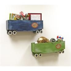 Build fun and playful train themed wall shelves to display photos, awards, or other items in your children's bedroom or play room.
