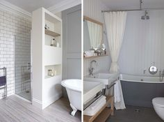 I like the stand-alone tub + shower design on the right. Classier than the traditional modified stand-alones