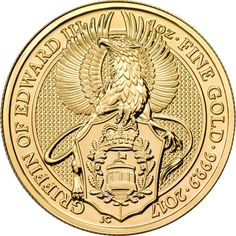 The 2017 UK Queen's Beasts The Griffin 1oz Gold Coin is the second release from the exclusive bullion range from The Royal Mint, featuring an original reverse design. The coin's reverse features a stylized rendition of the Griffin of Edward III, it's claws clutching a shield. The reverse also shows details of the coin's weight, fineness and year-date. The obverse design depicts the fifth portrait of Queen Elizabeth II, and the monetary denomination of £100. Both the obverse and reverse by…