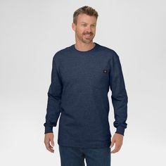 Dickies Men's Big & Tall Cotton Heavyweight Long Sleeve Pocket T-Shirt- Dark Navy Xxl Tall