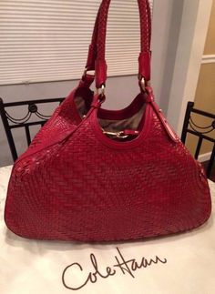 "Cole Haan 19"" Genevieve Woven Leather Hobo Tote Satchel Shoulder Hand Bag Purse  #ColeHaan #TotesShoppers GORGEOUS!!! BEAUTIFUL RED COLOR!!! RARE IN THIS COLOR & SIZE!!! SALE!!! WOW!!!"