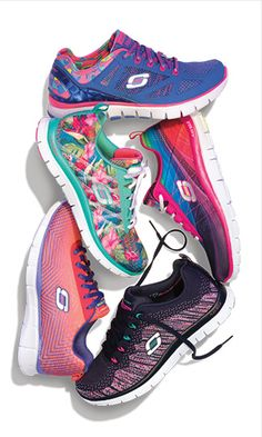 Colorful Comfort  Shop new styles for Spring with Skechers Memory Foam  Sketcher Walking Shoes 03c74a81244