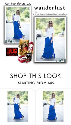 """""""Maxi Blue Long Skirt With Suspenders By EUGfashion"""" by eug-fashion ❤ liked on Polyvore featuring Mason's and EUGfashion"""