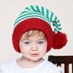 Huggalugs Boys or Girls Peppermint Twist Christmas Stocking Hat: Cute holiday colored stocking hat has green and white stripes with a fuzzy red mohair cuff. Perfect for portraits. Get one for all the kids! Crochet Christmas Hats, Christmas Baby, Crochet Hats, Girl With Hat, Boy Or Girl, Baby Beanie Hats, Newborn Crochet, Christmas Stockings, Portraits