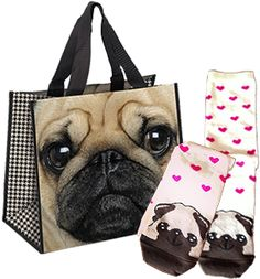 Special offer pug shopper bag & ladies pug socks both for £10.00/$15USD/€11 From www.ilovepugs.co.uk  Post Worldwide