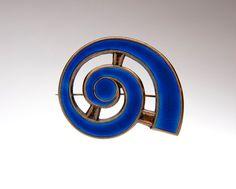 Tostrup blue enamel sterling nautilus brooch