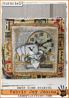Tammy Tutterow Tutorial: Made from Scratch Mini Album Tutorial featuring Tim Holtz Eclectic Elements Fabric Collection