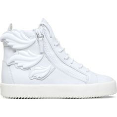 GIUSEPPE ZANOTTI Triple Wing Kanye high-top trainers ($945) ❤ liked on Polyvore featuring shoes, sneakers, trainers, white, white hi tops, lace up sneakers, white high top shoes, hi tops and leather high tops