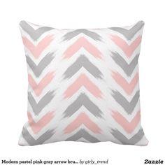 Modern pastel pink gray arrow brushstrokes pattern throw pillow