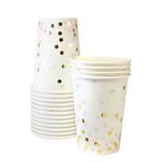 Pink and gold paper cups. Set of 12. Paper cups with light pink and gold foil confetti. White paper cup with baby pink and gold polka dots