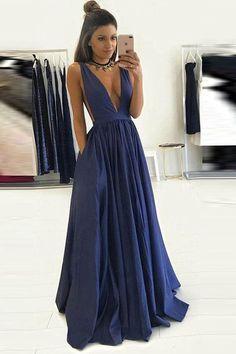 Deep V Neck Off the Shoulder Dark Blue Elegant Prom Dress Evening Gowns LD122