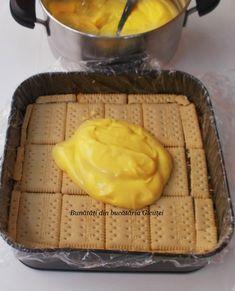 Prajitura cu biscuiti, mere si crema de vanilie - Bunătăți din bucătăria Gicuței Biscuit Cake, Cookie Recipes, Biscuits, Deserts, Dairy, Cheese, Cookies, Food, Humor