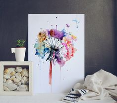 Dandelion Watercolor Print - Nature Watercolor Poster - Watercolor Home Decor - Dandelion Illustration - Dandelion Painting SIZE: A2 - 594 x