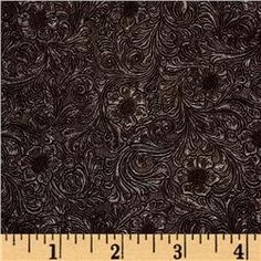 Faux Leather Fabric Tooled Floral Chocolate