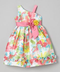 Look at this Jayne Copeland Pink Neon Floral Ruffle Asymmetrical Dress - Toddler