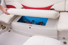 Cooler for beverages located underneath the seat for a day on the boat Hunting Outfitters, Boat Restoration, Fifth Wheel Trailers, Ski Boats, Boat Seats, Trolling Motor, Boat Interior, Seat Storage