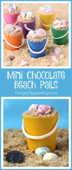 """Turn little handmade chocolate cups into these adorable Mini Chocolate Beach Pails filled with Dulce de Leche Mousse and topped with toffee bits """"sand"""" and chocolate shells. They will make great treats for your beach themed party."""