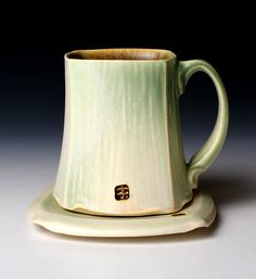 Square White and Green Mug and Saucer Set by nickdevriespottery,