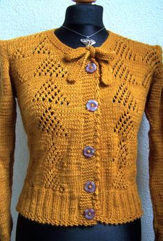 cardigan 1940s style copper brown by Wollarium on Etsy, $250.00