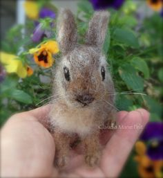 Needle Felted Cottontail Bunny Rabbit Baby by ClaudiaMarieFelt Needle Felted Animals, Felt Animals, Happy Animals, Wooly Bully, Easter Crochet Patterns, Needle Felting Tutorials, Felt Bunny, Rabbit Baby, Felt Mouse