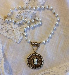 Pearl Beaded Filigree Cameo Necklace from by heartsoftoday on Etsy, $40.00