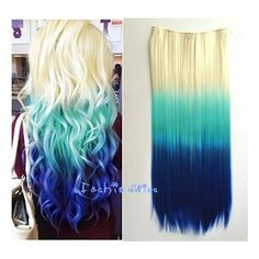White Blonde to Blue Three Colors Ombre Hair Extension Synthetic Hair... ($12) ❤ liked on Polyvore featuring beauty products, haircare, hair color, bath & beauty, grey, hair care and hair extensions