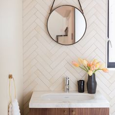 "Fireclay Tile on Instagram: ""We love all the materials used in this beautiful bathroom. This is a custom white in a herringbone pattern, for a look similar to this you could try our Ultra Cream, Tusk or Gardenia. Designer: Stellah Deville @stellahd #recycled #handmade #tile #madeintheusa"""