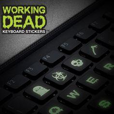 "Pegatinas fluorescentes para teclados ""The Working dead"""