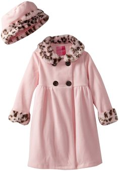 Good Lad Baby Girls' Fleece Coat with Leopard Fur Trim, Pink, 12 Months. Polyester. Matching hat.