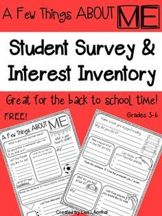 Student Survey ~ Interest InventoryI hope you and your students enjoy this free student survey and interest inventory. It's great for the first day of school! Teaching Suggestions:You can run the student survey front/back, or just use the front page.Students can fill out the interest inventory on the first day of school or sometime during the first week while you are busy with beginning of the year paperwork and assessing/leveling students.Use the completed student survey as a…