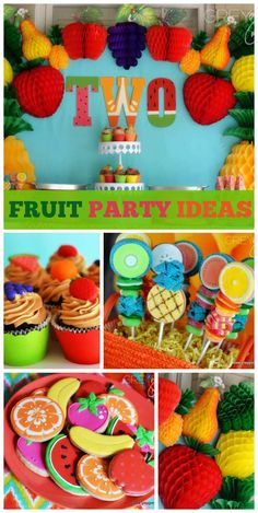 A Two-tti Fruitti girl birthday party with an amazing dessert table, backdrop and  honeycomb tissue fruit!  See more party planning ideas at CatchMyParty.com!