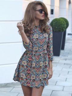 f802b04e94 Multicolor A Line Vintage Print Dress EmmaCloth-Women Fast Fashion Online