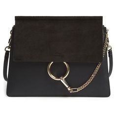 Chloe 'Medium Faye' Shoulder Bag (2,565 CAD) ❤ liked on Polyvore featuring bags, handbags, shoulder bags, black, black leather shoulder handbag, black chain purse, black leather purse, chloe handbags and genuine leather purse