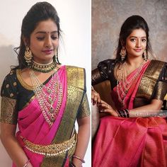 Hyderabad is famous for Biriyani and Pearls😊Here we have pretty women wearing and a master piece of jewellery 😍… Pattu Saree Blouse Designs, Bridal Blouse Designs, Dress Designs, Saree Jewellery, Bead Jewellery, Bridal Jewellery, Jewellery Designs, Jewelry Patterns, Necklace Designs