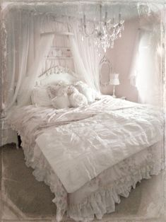 Shabby Chic- love the frills and canopy