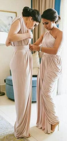 2018 long bridesmaid dress, one shoulder long bridesmaid dress, elegant gold long bridesmaid dress