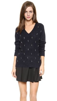 Elizabeth and James Angora Embellished Sweater