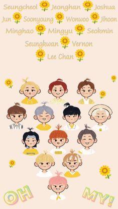 Woozi, Jeonghan, Wonwoo, Seventeen Lyrics, Carat Seventeen, Seventeen Wallpapers, Kpop Backgrounds, Kpop Fanart, Cute Illustration
