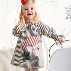 Mud Pie Santa Pillowcase Dress Woven cotton dress features multi-patterned fabric Santa applique, pom-pom trim, elastic neckline and flared sleeves. Kids Christmas Outfits, Girls Christmas Dresses, Holiday Outfits, Holiday Clothes, Santa Christmas, Outfits Niños, Kids Outfits, Little Girl Dresses, Girls Dresses