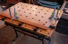 Clamp table  -- appears to have a Black and Decker Workmate base.