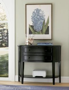 Powell Antique Black Demilune Sofa Wood Console Entry Table Furniture 502-515