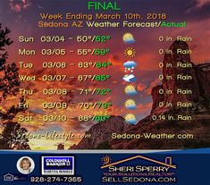 Sedona-Weather.com -  WE 3/10/18 - FINAL and  Noteworthy - Days in the 70ºs and Rain!   #weather  #March #Sedona #rain