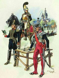 LE MARECHAL PONIATOWSKI, UN ADJUDANT COMMANDANT ET, A CHEVAL, LE GENERAL CHOUART.
