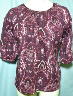 Womens Plus size Top 2x  Cotton Purple  Maroon Paisleys 3/4 sleeves  #StJohnsBay #Tunic #Casual