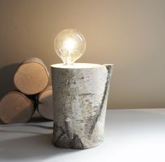 Making an exposed bulb lamp with white birch trees